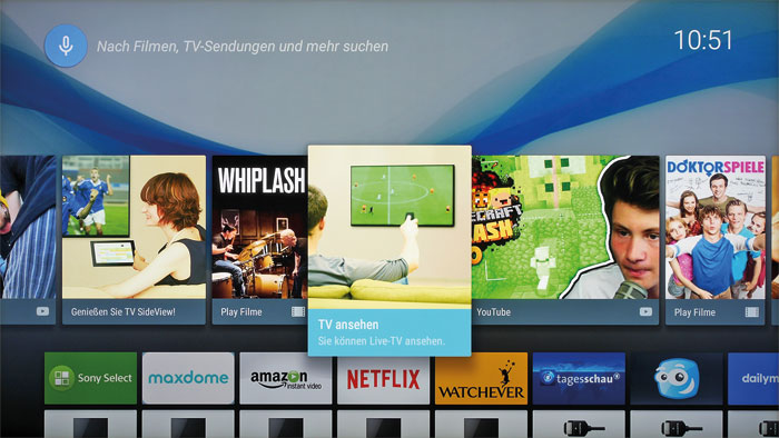 Ohne Touchscreen: Sonys neue Benutzeroberfläche präsentiert sich bunter und ansprechender. Das Home-Menü verzweigt auf sämtliche Funktionen.
