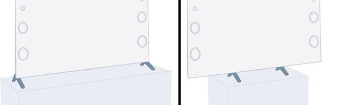 Leichtfüßig: Wer einen schmalen TV-Tisch besitzt (Breite unter 190 Zentimeter), kann die beiden Standfüße des KD-75 X 9405 C auch mittig statt an den Außenseiten festschrauben. Eine Wandmontage ist ebenfalls möglich.