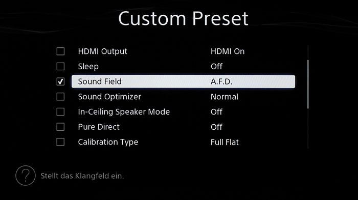 Drei Custom Presets erlauben das Speichern und Aufrufen vieler Einstellungen per Knopfdruck.