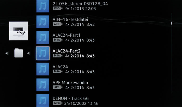 Das Auswahlmenü des Audioplayers informiert über Dateiname, Format und den Zeitpunkt der Erstellung.