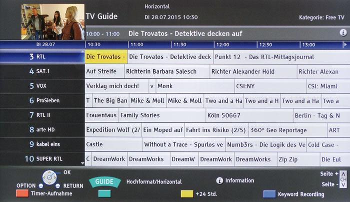 Der übersichtliche Guide informiert wahlweise über das Programm eines oder von sieben Sendern.