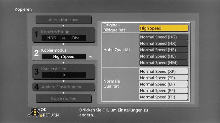 Für den Export der Aufnahmen auf der internen Harddisc gibt es verschiedene Möglichkeiten.