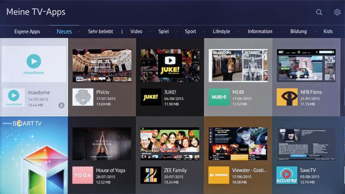 Samsungs Smart-TV-Portal gehört zu den umfangreichsten auf dem TV-Markt. Das Tizen-Betriebssystem gestattet dabei eine schnelle und intuitive Navigation.