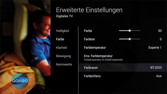 """Die Farbräume lassen sich in den erweiterten Einstellungen des Sony-Bildmenüs verändern. Neben """"sRGB/BT.709"""" stehen """"DCI"""" und """"BT.2020"""" zur Auswahl."""