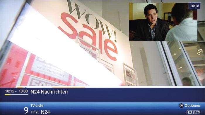 Die Bild-in-Bild-Funktion des Technisat erlaubt die gleichzeitige Darstellung zweier TV-Programme, so dass man in Werbepausen getrost umschalten kann.