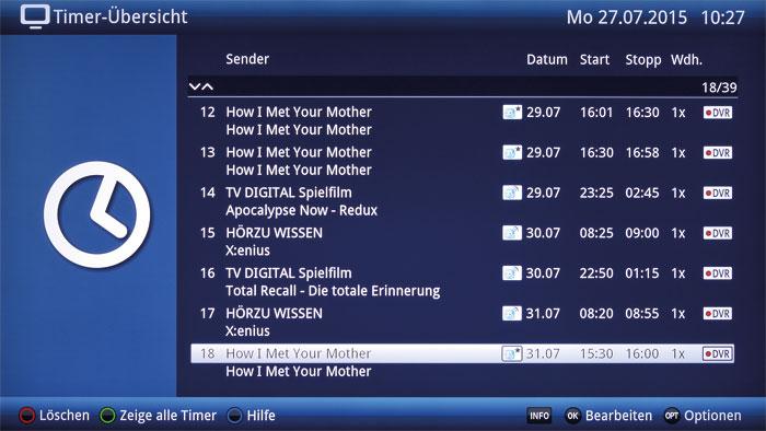 """Die Aufnahme-Planung des """"watchmi""""-Dienstes ist in der Timer-Übersicht einsehbar. Neben der Lieblingsserie werden auch ähnliche Sendungen mitgeschnitten."""