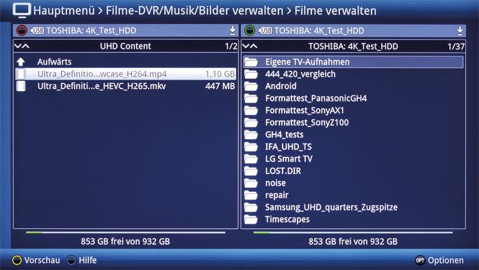 """Datenaustausch leicht gemacht: Im Menü """"Filme-DVR/Musik/Bilder verwalten"""" können Dateien zwischen den angeschlossenen Speichermedien kopiert werden."""