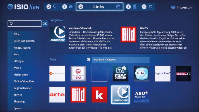 ISIO Live: Das Smart-TV-Portal von Technisat präsentiert sich verschachtelt und damit unübersichtlich. Filmfreunde müssen auf Maxdome zurückgreifen.