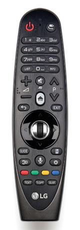 Kombinierte Kontrolle: LGs überarbeitete Magic Remote ist eine Kreuzung aus dem altbewährten Tasten-Signalgeber und einer modernen Fuchtelsteuerung. Sie beherbergt auch ein Mikrofon für Sprachbefehle.