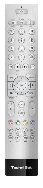 Technisat setzt auch bei seinen UHD-Fernsehern auf eine althergebrachte Tastensteuerung. Wichtige Funktionen können direkt aufgerufen werden, die Texteingabe in Web-Browser und Co. gelingt aber mühselig.