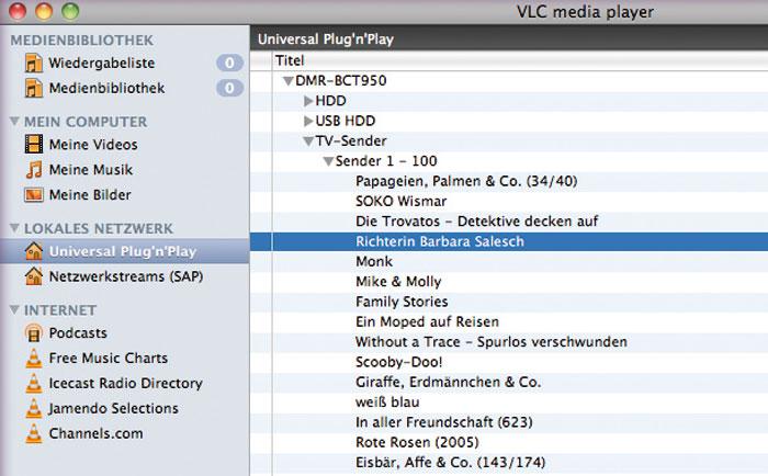 Mit dem VLC-Mediaplayer kann man vom PC aus auf die Festplatteninhalte des Panasonic zugreifen.