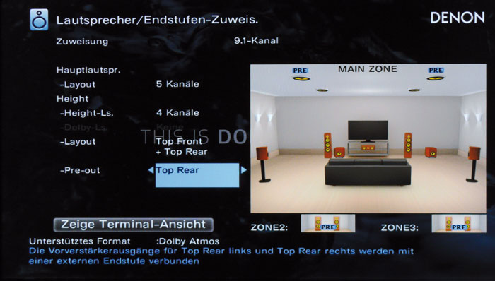 Dolby-Atmos-Setup: Bei 5.1.4-Kanälen müssen zwei externe Endstufen (mit PRE gekennzeichnet) mithelfen.