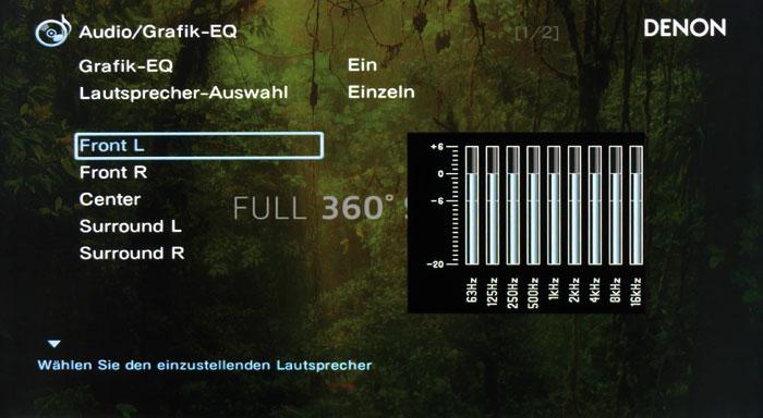 Der Audio-Equalizer mit neun Bändern arbeitet ab 63 Hertz und wirkt auf alle Boxen bis auf die Subwoofer.
