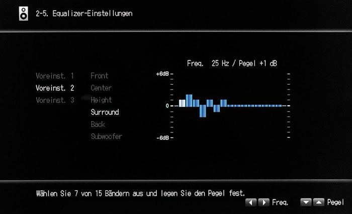Unflexibler Grafik-Equalizer: Nur maximal 7 von 15 Bändern lassen sich zugleich benutzen.