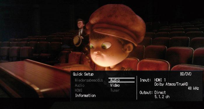 Das Quick Setup ist ein übersichtliches Menü, das detaillierte Infos zum Video- und Audiosignal liefert.