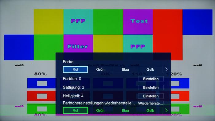 """Bildregler für Tüftler: Im Menü """"Farbtoner"""" lassen sich die Farben im Bildmodus """"Kino"""" optimieren und etwa Rot deutlich besser als ab Werk einstellen."""