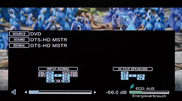 Ein Druck auf die Info-Taste verrät, aus welchen Kanälen das ein- und ausgehende Audiosignal besteht.
