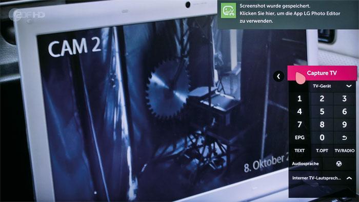 """Momentaufnahme: Die """"Capture TV""""-Funktion erstellt einen Screenshot des aktuellen Bildinhalts. Im """"LG Photo Editor"""" können Effekte auf die Grafik angewandt werden."""