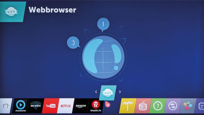 Ziehen und Ablegen: Die Icons der webOS-Oberfläche können kinderleicht per Drag and Drop verschoben werden. Das Gerät merkt sich die zuletzt geöffneten Apps.