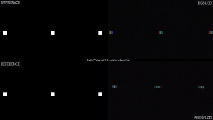 Reduzierte Subpixel: Jeder zweite Bildpunkt besteht aus einem weißen Subpixel statt RGB-Subpixeln. Deshalb scheinen hier einzelne Pixel in die Länge gezogen.