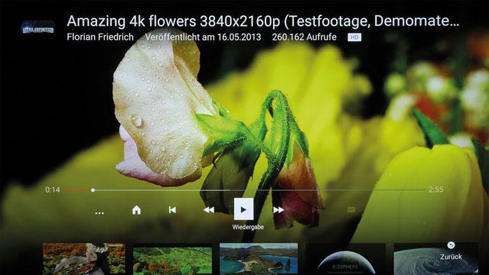 Die YouTube-App zeigt Ultra-HD-Videos auf Anhieb in entsprechender Qualität – eine flotte Internetverbindung vorausgesetzt. Panasonics 4K Channel wurde gestrichen.