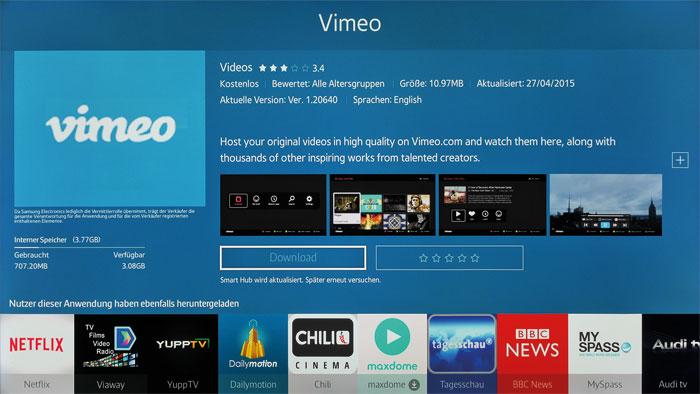 Videos, Nachrichten und mehr: Samsung stellt dem Nutzer zahlreiche Smart-TV-Apps zum Download bereit. Der interne Speicher des JS 9090 fasst 3,77 Gigabyte.