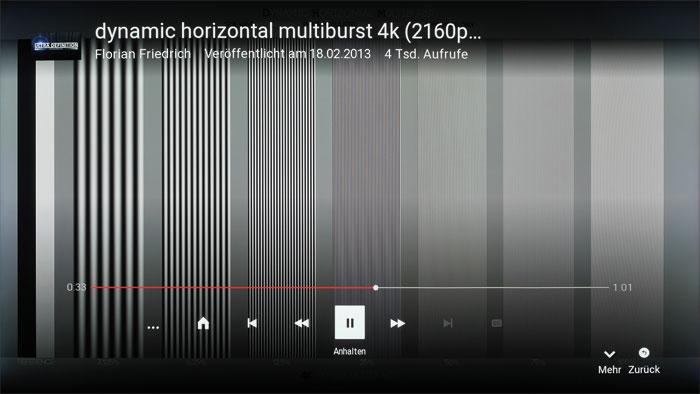 Völlig aufgelöst: Die YouTube-App liefert eine beeindruckende 4K-Qualität. In unserem Multiburst-Testbild werden selbst feinste Linien sauber durchgezeichnet.