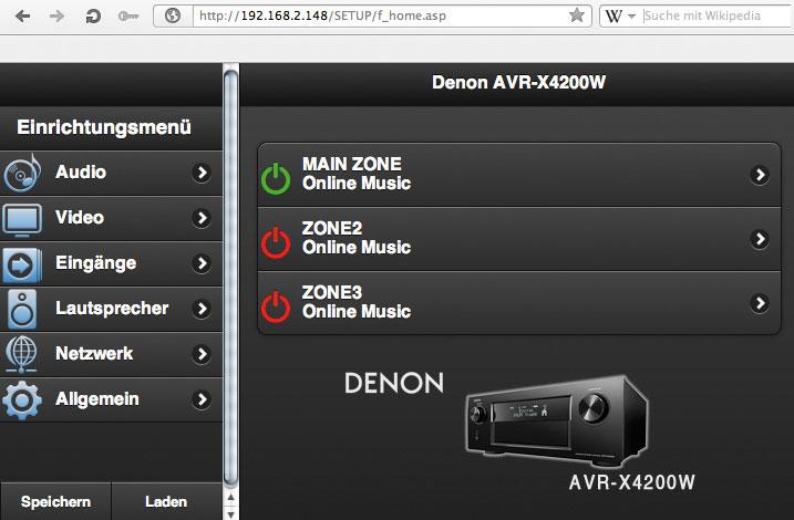 """Bedienung via Smartphone-App und am Computer: Das linke Bild zeigt die für Android und iOS erhältliche """"Denon Remote App"""". Rechts: das übersichtliche wie praktische Web-Browser-Menü des Denon."""