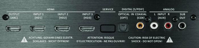 Hier ist alles da: Die Rückseite des Sound-Decks ist unter anderem mit drei HDMI-Eingängen bestückt, um neben einem Blu-ray-Player weitere Zuspieler anzuschließen. Zudem kann ein separater Subwoofer angedockt werden.