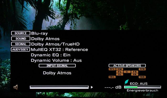 Die Info-Taste zeigt die Kanäle des Eingangssignals sowie die gerade aktiven Lautsprecher an.