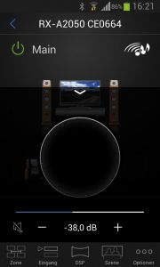 "Yamahas ""AV Controller""-App bietet sogar einen virtuellen Lautstärkeregler."