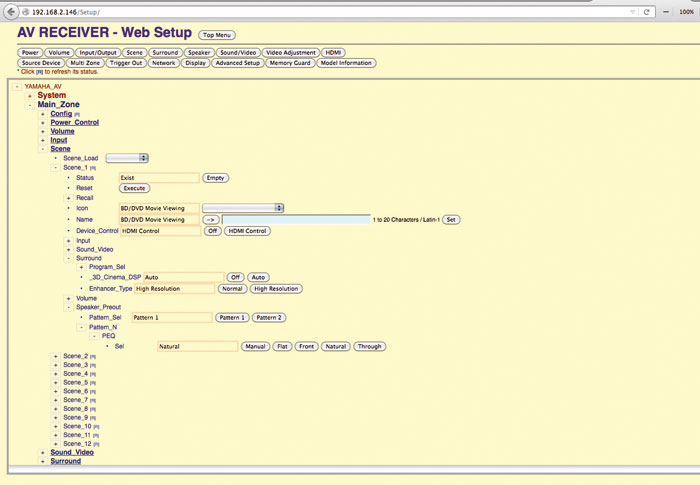 """Über das praktische Webinterface des RX-A2050 lassen sich auch komplexe Makros (""""Szenen"""") komfortabel programmieren."""