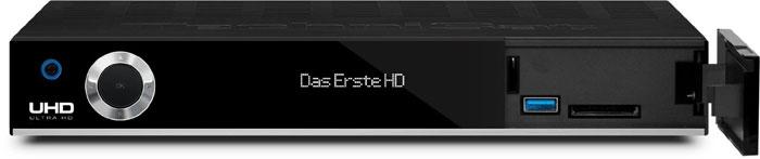 Der Technisat DIGIT ISIO STC+ holt Ultra-HD-Inhalte per Satellit oder aus dem Internet auf den Bildschirm. Aufzeichnungen sind auf externe Festplatten möglich.