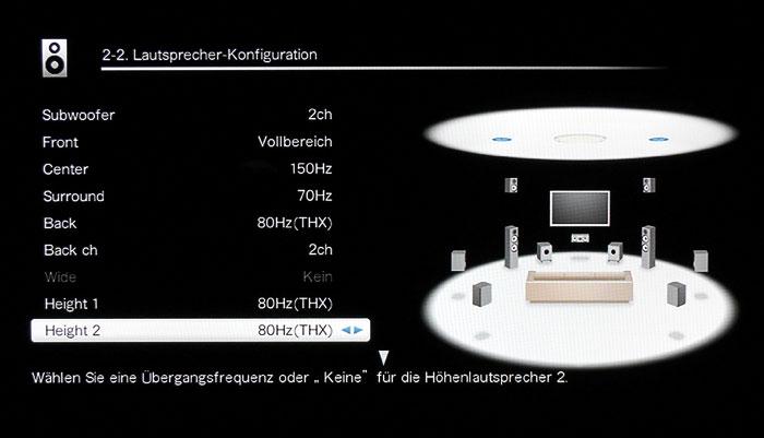 Im Lautsprecher-Konfigurationsmenü 2-2 stellt man Art und Anzahl der angeschlossenen Boxen ein.