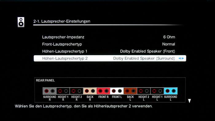Dolby Front Speaker können nur mit seitlich oder hinten platzierten Dolby-Boxen kombiniert werden.