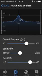 Der im S12 EQ integrierte parametrische Equalizer kann auf Wunsch eine störende Raumresonanz gezielt abschwächen. Die Elac-App ermöglich eine zielgenaue, einfache Justage.