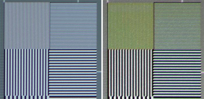 Full-HD-Testbildmuster zeigt der Sony VPL-VW 520 ES aufgrund der Drei-Chip-Technik bereits leicht gefärbt und etwas flau (rechts). Ein guter Full-HD-DLP bringt das Muster ohne Einfärbung sowie etwas kontrastreicher auf die Leinwand (links).
