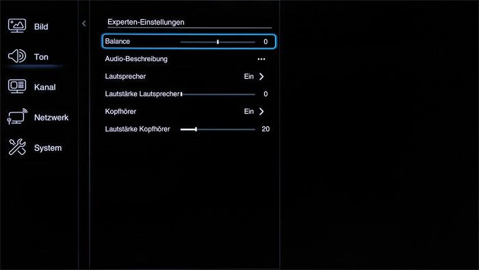 """Zahlreiche Audioregler: Nach dem Wechsel in den Tonmodus """"Benutzer"""" gibt der TCL U 65 S 8806 DS den Zugriff auf zusätzliche Klangjustagen frei."""