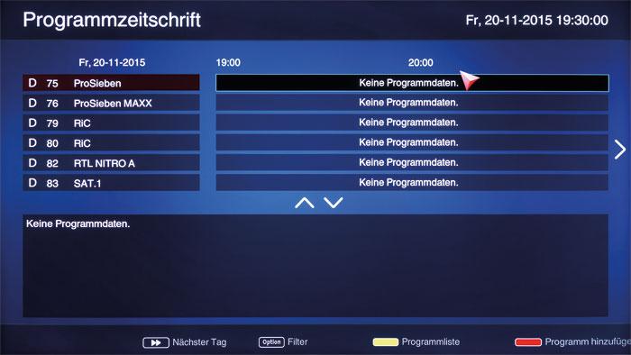 Unbeschriebenes Blatt: Der TV-Tuner liefert erst nach mehreren Anläufen eine brauchbare Kanalliste ab. Dennoch bleibt die Programmübersicht oft leer.