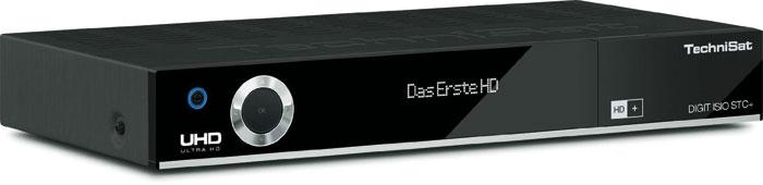 Der in Schwarz und Silber erhältliche Technisat-Receiver verbirgt hinter seiner Frontklappe einen USB3.0-Anschluss sowie einen SD-Kartenleser. Die Front ziert ein zwölfstelliges Display, das sich gut ablesen lässt.