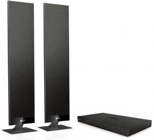 Die 3,5 Zentimeter flachen KEF-Boxen eignen sich ideal zur Aufstellung neben dem TV oder an der Wand.