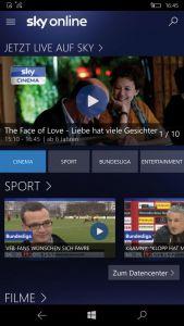Sky Online läuft jetzt dank einer neuen App auch auf  mobilen Geräten mit Windows 10. Die da-zugehörige Internetseite hat der Pay-TV-Sender überarbeitet.