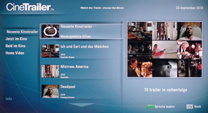Wissen, was im Kino läuft, ist dank der App CineTrailer.tv kein Problem. Die Filmclips sind deutschsprachig, die Bildqualität entspricht SDTV-Niveau.