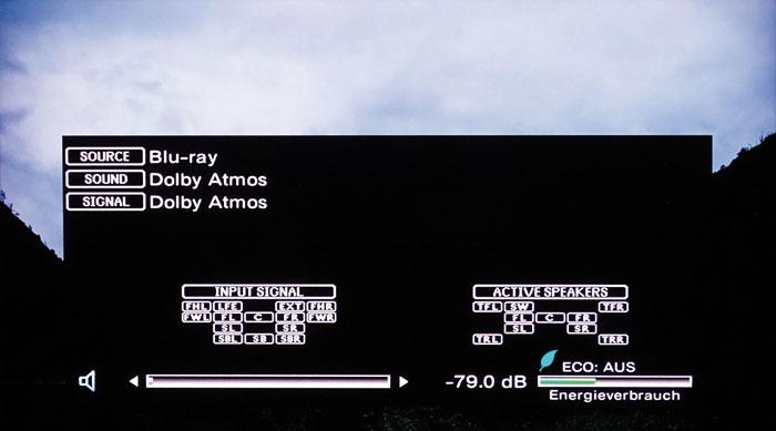 Die Info-Taste zeigt, welche Kanäle das Eingangssignal enthält und welche Boxen angesteuert werden.