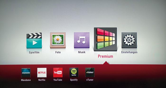Aufgeräumt: Das Hauptmenü des Players verlinkt zum Mediaplayer, den Internet-Apps und Einstellungen.