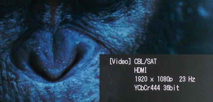 Ein Druck auf die Display-Taste verrät Details zum Video- und Audiosignal.