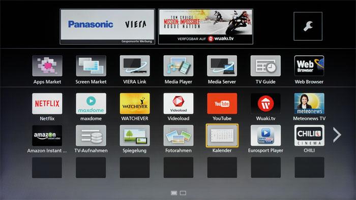 Als wäre es gestern gewesen: Obwohl der CSW 524 mit Panasonics altem Betriebssystem arbeitet, präsentiert sich das Smart-TV-Portal dank zahlreicher Apps modern.