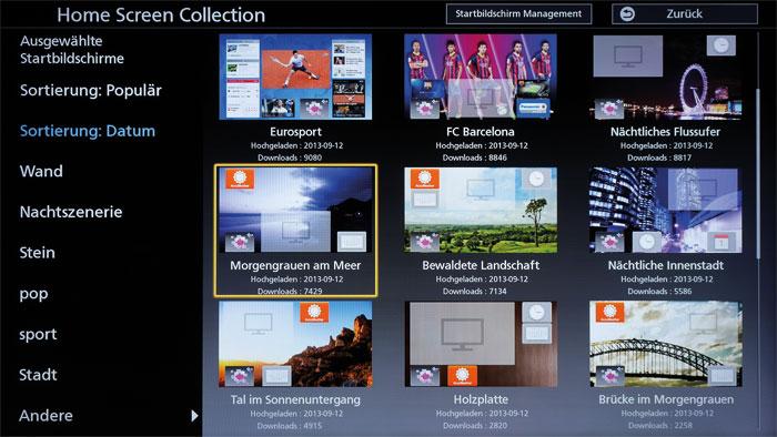 """Fertige Fassaden: Über die """"Home Screen Collection"""" stehen verschiedene Startbildschirm-Designs zum Download bereit. Man kann aber auch selbst Hand anlegen."""
