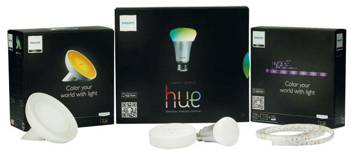 Äpfel und Birnen: Anders als normale LED-Lichter sind Philips' Hue-Lampen netzwerkfähig. Das System beinhaltet außerdem Leuchtbänder und Tischleuchten.