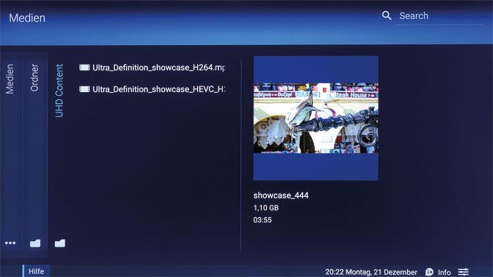 Dem Tuner voraus: Der über USB und Netzwerk fütterbare Mediaplayer kommt ab Werk mit dem HEVC-Format zurecht. Auch sonst spielt er alle wichtigen 4K-Videos ab.